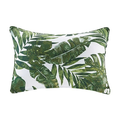 Green Printed Palm Pillow