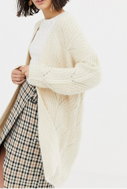Cable Knitted Edge to Edge Cardigan