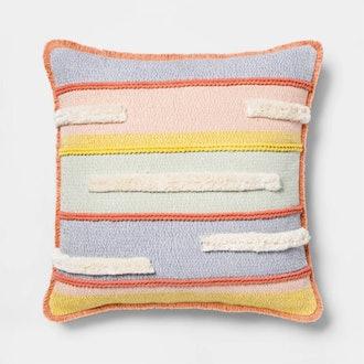 Textured Stripe Square Throw Pillow