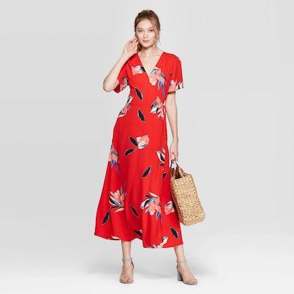 Women's Floral Print Sleeveless V-Neck Maxi Wrap Dress