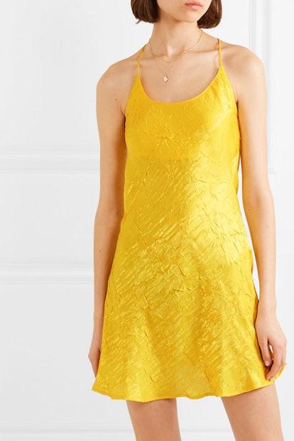 Flynn Crinkled-Satin Mini Dress