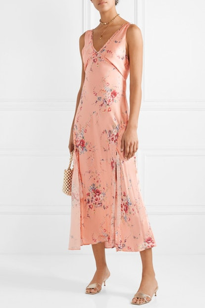 Kendall Ruffled Floral-Print Silk-Satin Maxi Dress