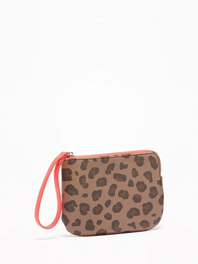 Printed Faux-Leather Wristlet
