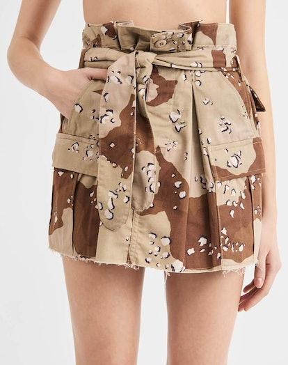 Pleated Camo Skirt