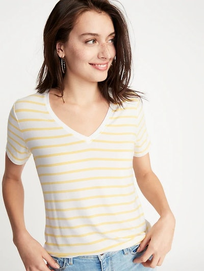 Striped Luxe V-Neck Tee for Women
