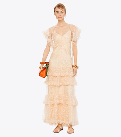 Flocked Tulle Ruffle Gown