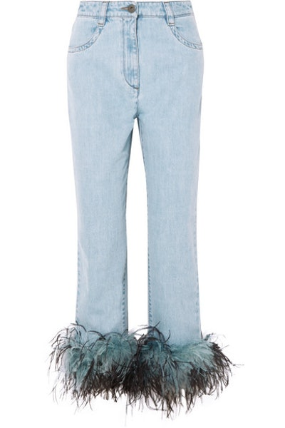 Feather-Trimmed Boyfriend Jeans