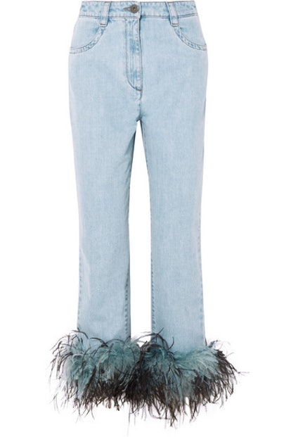 Feather-Trimmed Boyfriend Jeans
