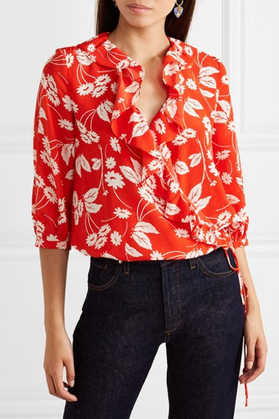 Sofia Ruffled Floral-Print Silk-Crepe Wrap Top