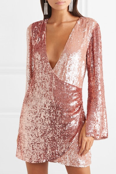 Christine Wrap-Effect Two-Tone Sequined Satin Mini Dress