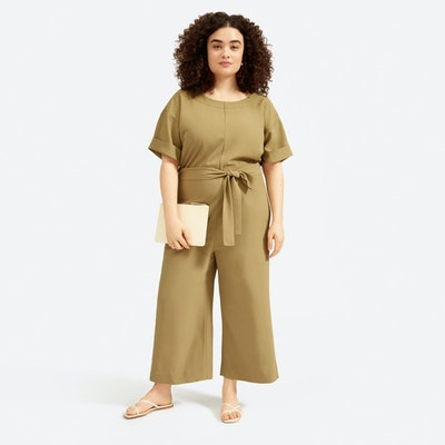 The Japanese GoWeave Short-Sleeve Jumpsuit in Olive