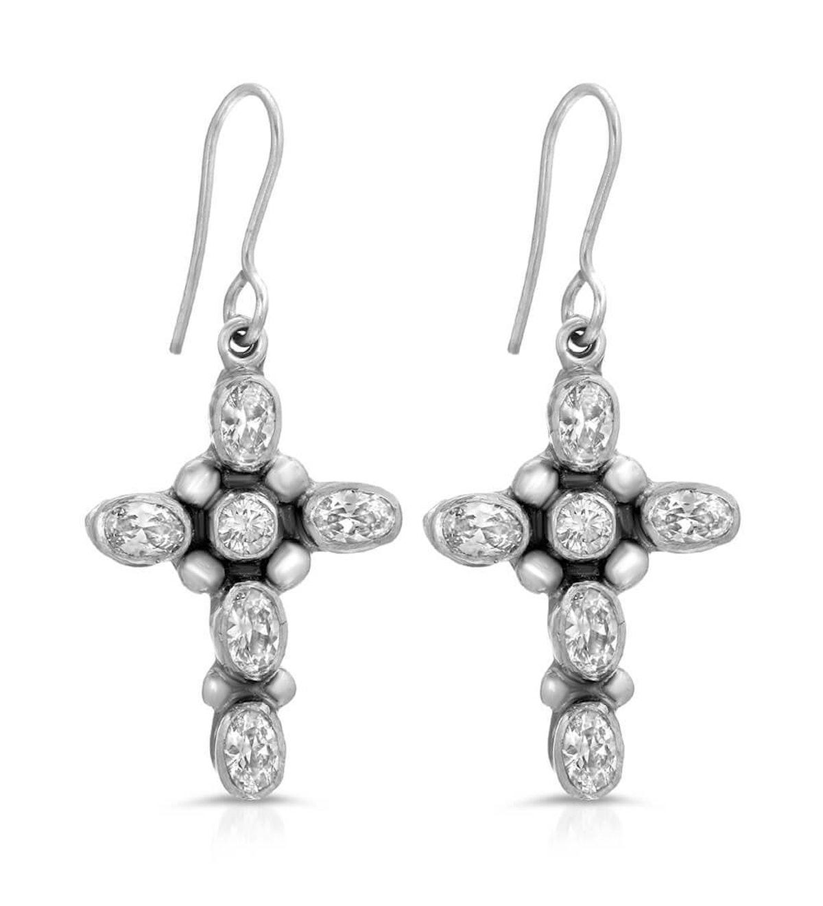 Baby Cross CZ Earrings