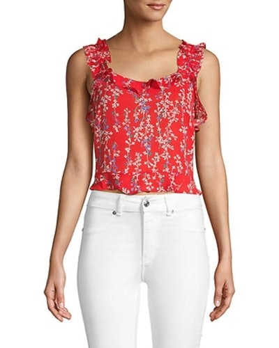 Ruffled Floral Crop Top