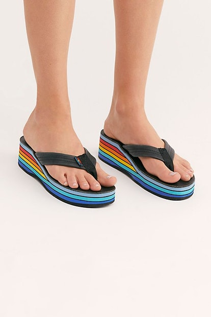 Rainbow Wedge Thong Sandal