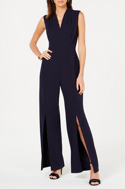 V-Neck Split-Leg Jumpsuit