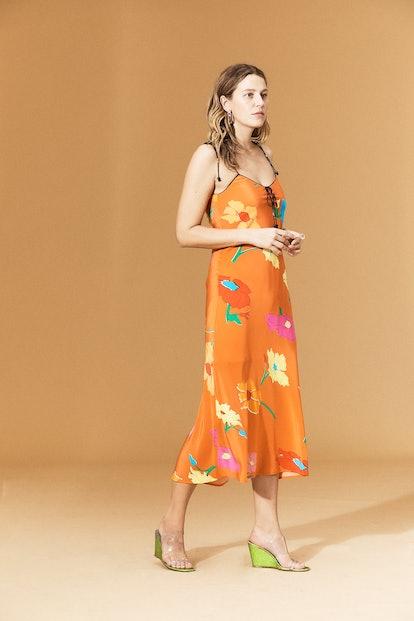 Spritz Silk Dress Big Floral Coral