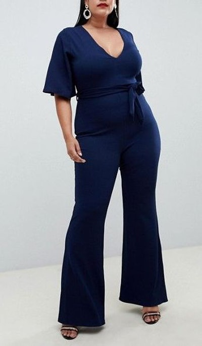 Missguided Kimono Sleeve Jumpsuit In Navy