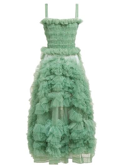 Flo Gingham-Organza Ruffle Midi Dress