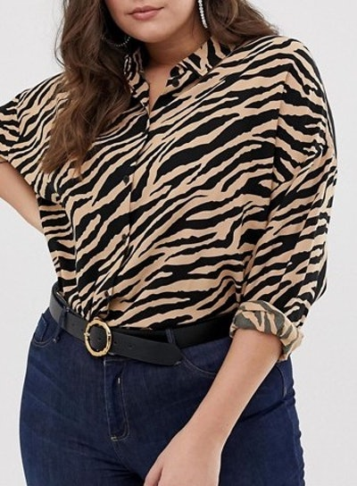 Cropped Long Sleeve Shirt In Tiger Animal Print