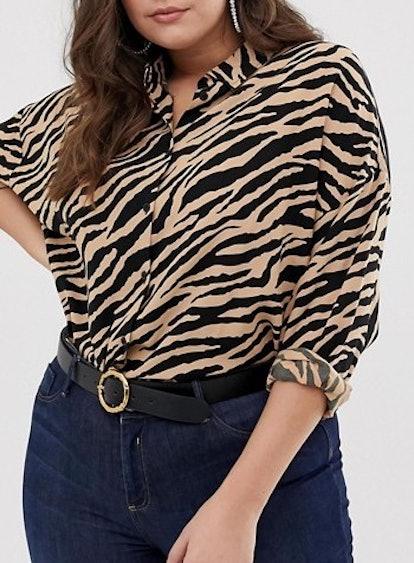 Cropped Long Sleeve Shirt In Tiger Animal Print