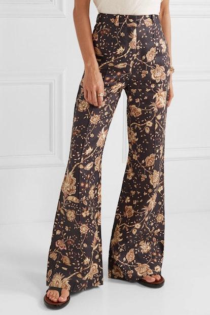Veneto Printed Linen Flared Pants