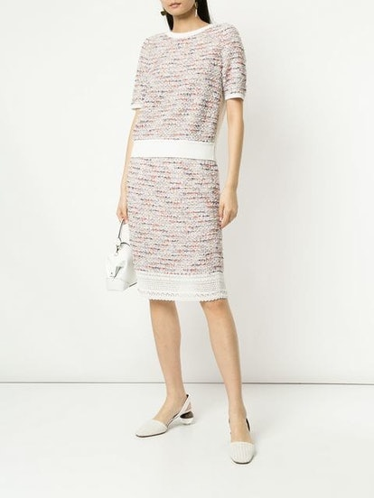 Tweed Front Knitted Top & Pencil Skirt