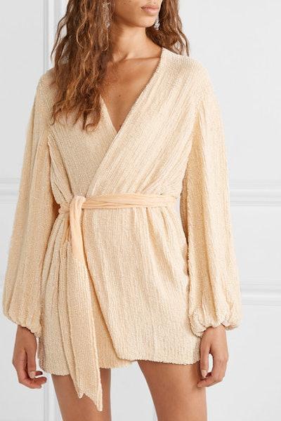 Gabrielle Velvet-Trimmed Sequined Chiffon Mini Wrap Dress