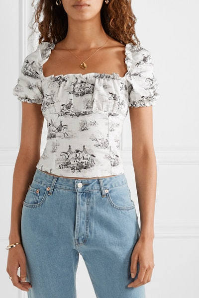 Salina Cropped Printed Linen Top