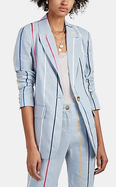 Derek Lam 10 Crosby Striped Linen-Blend One-Button Blazer