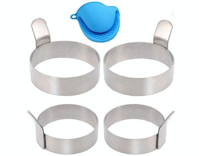 Kingsoo Stainless Steel Egg Rings (4-Pack)