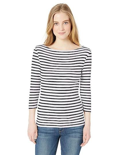 Amazon Essentials Women's 3/4 Sleeve Boatneck T-Shirt