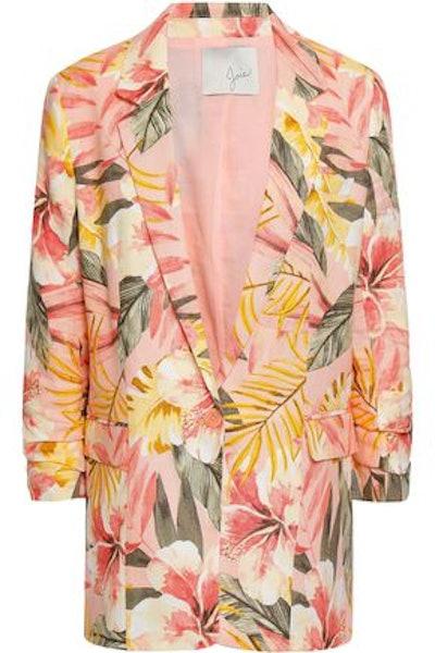 Joie Ruched Printed Linen Blazer
