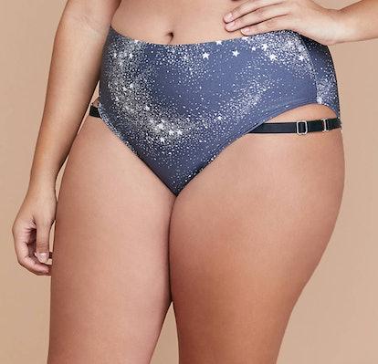 High-Waist Swim Brief - Shimmer Star Print