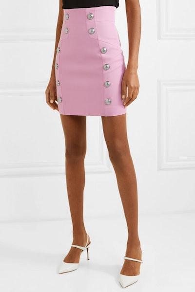 Button-Embellished Wool-Twill Mini Skirt