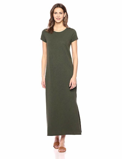 Daily Ritual Women's Lived-in Cotton Short-Sleeve Crewneck Maxi Dress