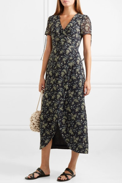 Wrap-Effect Floral-Print Georgette Maxi Dress