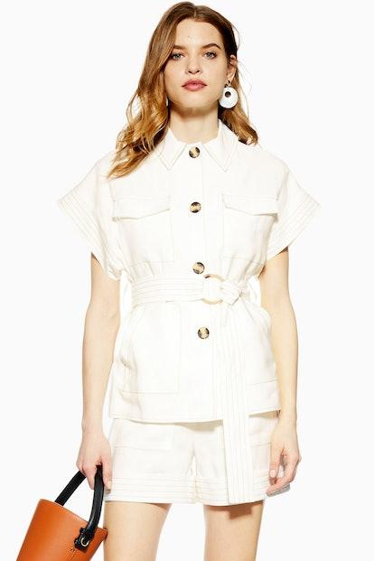 Ivory Utility Shorts Suit