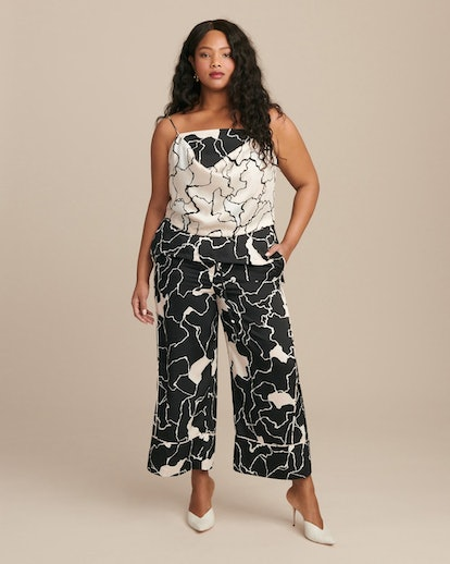 Yigal Azrouel Ocean Crest Printed Twill Elastic-Waisted Pant