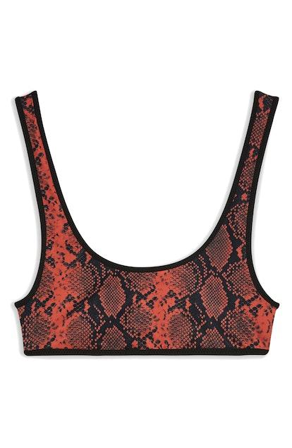 Sporty Snake Print Bikini Top TOPSHOP