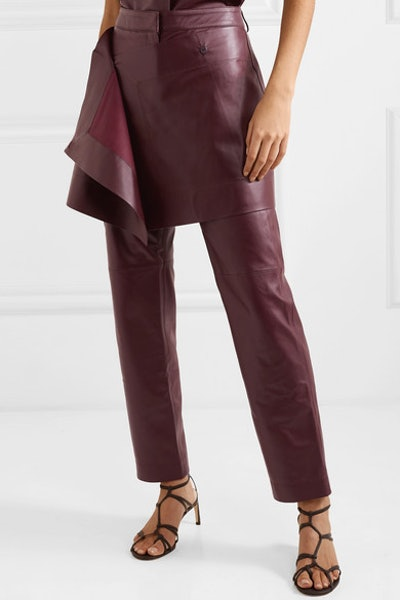 Judy Layered Leather Slim-Leg Pants