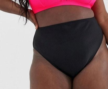 ASOS DESIGN Curve Rib High Leg Bikini Bottom in Black