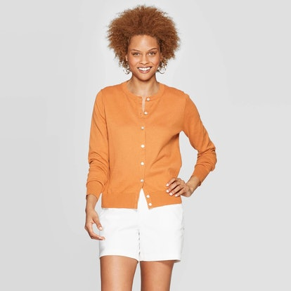 Casual Fit Long Sleeve Crewneck Button-Down Any Day Cardigan