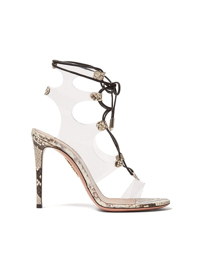 Milons 105 Snake-Print Leather Sandals