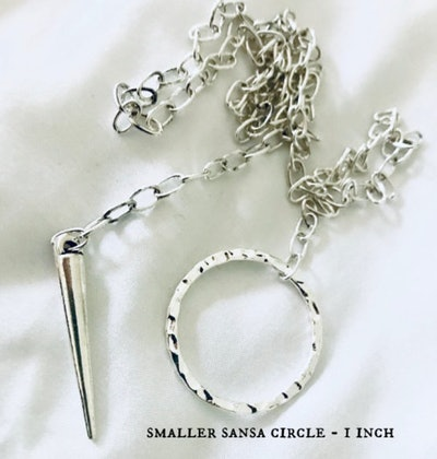 Sansa Stark Necklace Inspired by Game of Thrones Circle Lariat Spike Needle Pendant