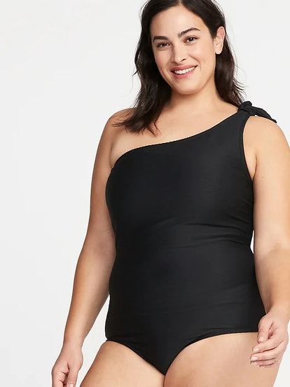 Textured Knotted One-Shoulder Plus-Size Secret-Slim Swimsuit