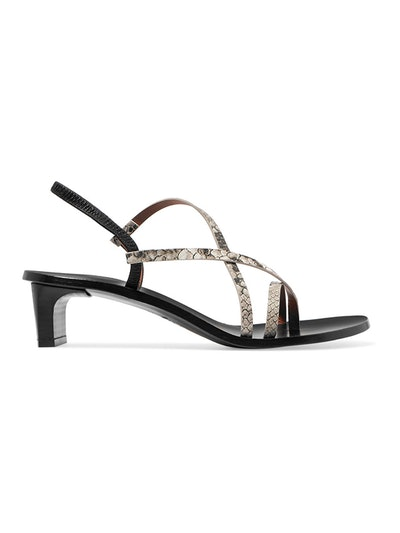 Nashi Snake-Effect Leather Slingback Sandals