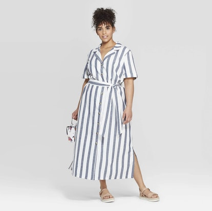 Striped Short Sleeve Linen Shirtdress