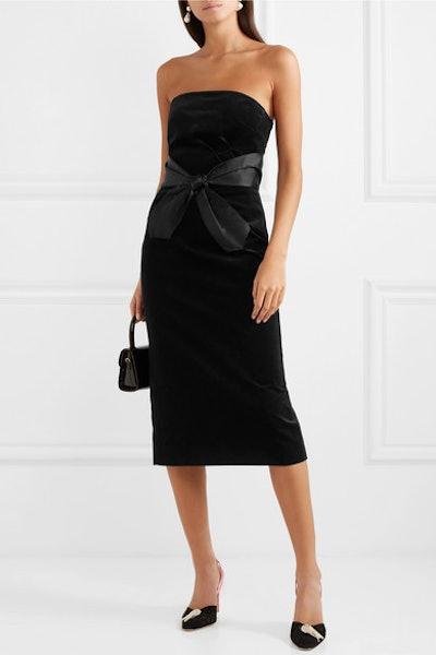 Strapless Bow-Embellished Cotton-Velvet Midi Dress
