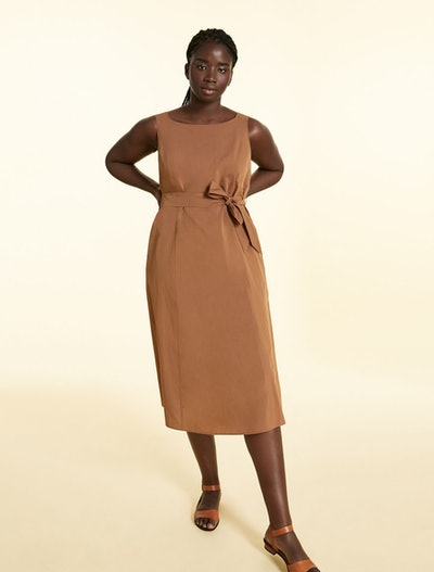 Long Dress In Cotton and Silk in Dark Brown