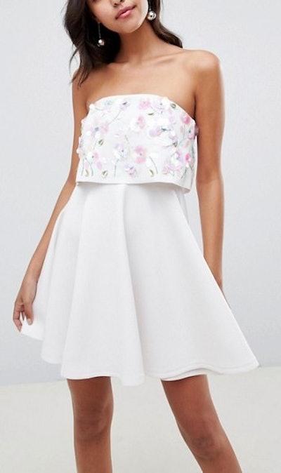 Scuba Embellished Crop Top Bandeau Skater Mini Dress